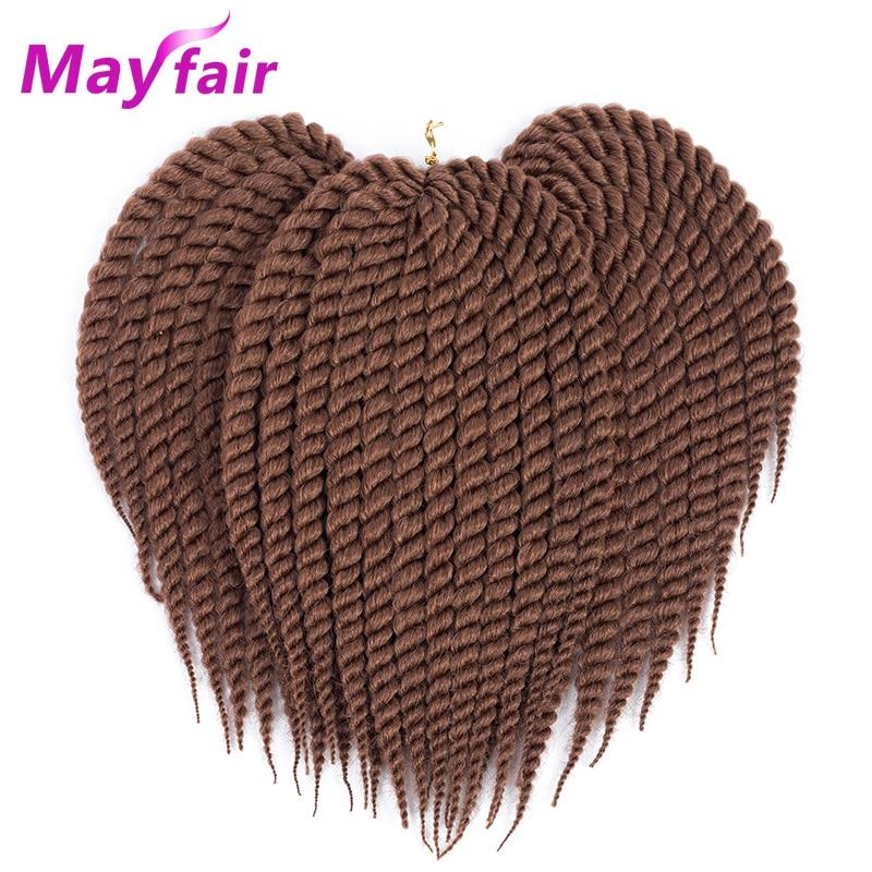 MAYFAIR 12''18''22'' Twist Hair 3pcs 6pcs Havana Mambo Twist Crochet Hair Synthetic Crochet Twist Hair Pure Color Braiding Hair