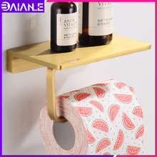 Toilet Paper Holder with Shelf Gold Brass Bathroom Tissue Roll Paper Holder Creative Phone Paper Towel Holder Rack Wall Mounted xueqin gold bathroom hotel paper holder retro copper wall mounted roll tissue storage shelf towels phone book holders