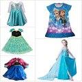2015 niños calientes Vestidos fiebre Elsa Anna princesa de las muchachas del paño del bebé del verano aduanas Cosplay Party Girls Vestidos