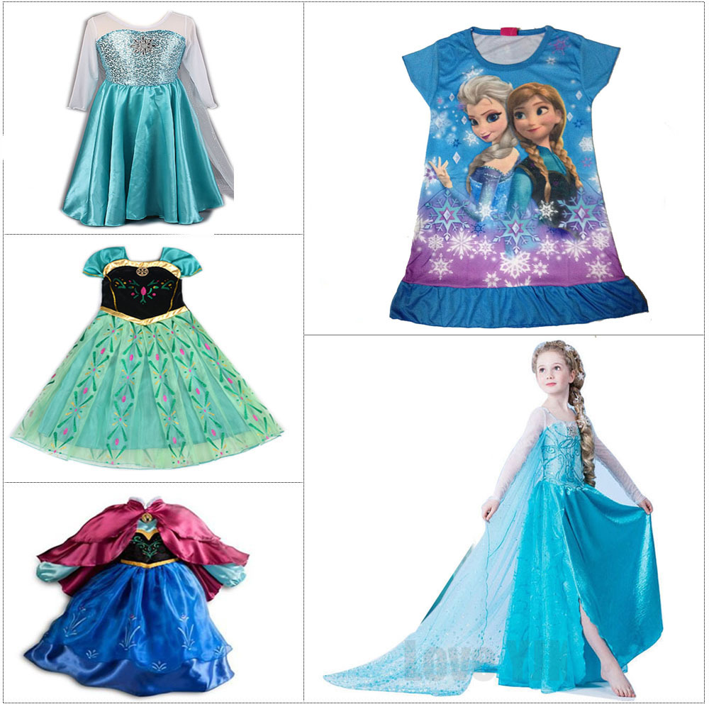 2017 Children Vestidos Fever Elsa Anna Dress For Girls Princess Dress Baby Cloth Summer Customs Kids Cosplay Party Girls Dresses hot 2017 summer girl fashion elsa anna dress children clothing girls princess elsa anna party dresses baby kids clothes vestidos