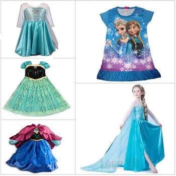 f8f7b162a0 2017 niños vestidos fever Elsa Anna vestido para Niñas princesa vestido  verano paño aduana niños Cosplay partido Niñas Vestidos