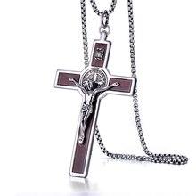 Большой широкий INRI Jesus крест Распятие Кулон Ожерелья 316L нержавеющая сталь звено цепи Святого Барба католические украшения отец подарок