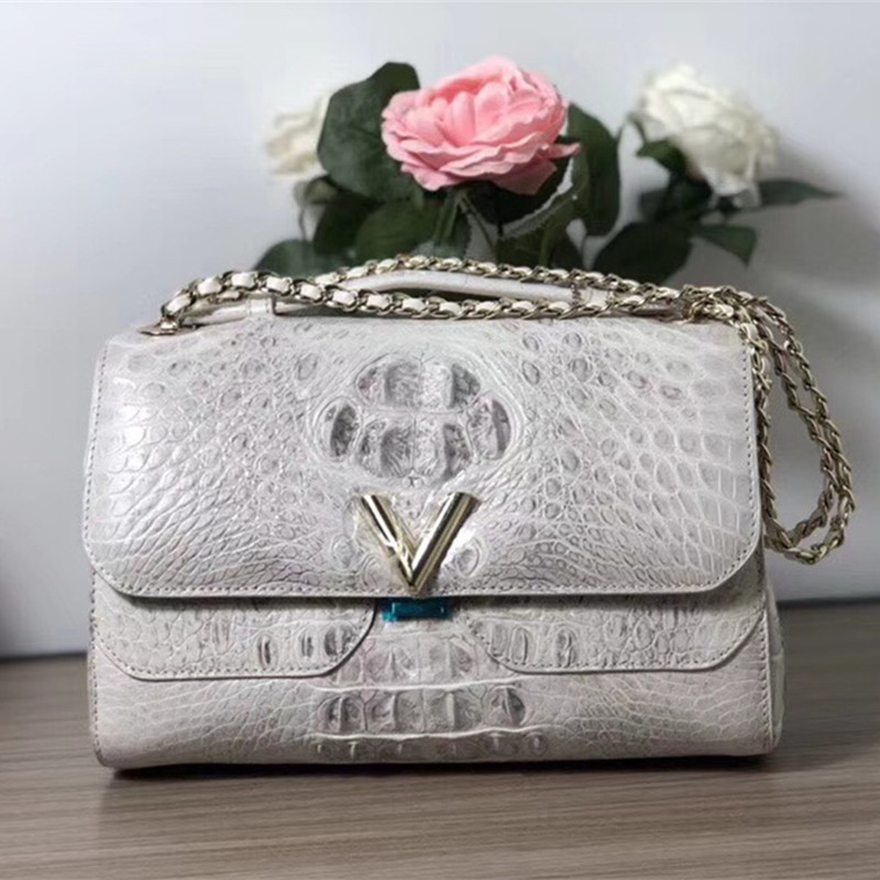 Luxury Designer Genuine Crocodile Skin Lady Shoulder Bag Handbag Exotic Alligator Leather Golden Metal Chain Womens White PurseLuxury Designer Genuine Crocodile Skin Lady Shoulder Bag Handbag Exotic Alligator Leather Golden Metal Chain Womens White Purse