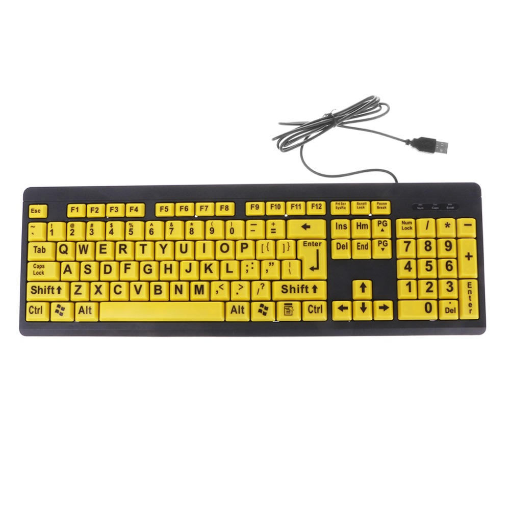 Big Black Letter Print Yellow Button USB Wired Keyboard Waterproof Designed With Drain Holes For Elderly & Low Vision