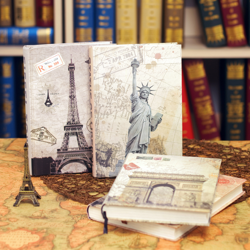 Ancient Europe Building Notebook Creative Vintage Diary Notepad Insert Picture illustrator Journal Travel Planner Tower of Paris