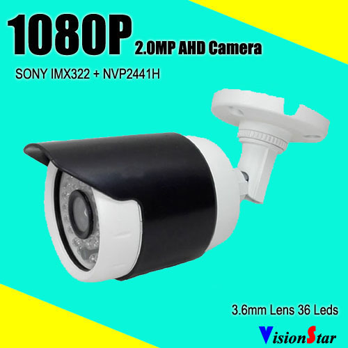 Cute small bullet home security camera 1080P AHD sony imx322 with OSD menu 3.6mm lens weatherproof outdoor bullet camera tube camera headset holder with varied size in diameter