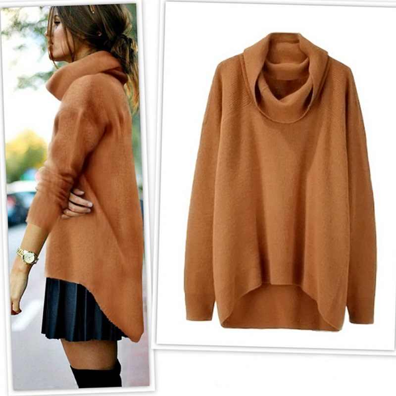 Autumn Winter Hot Women Sweater Long Sleeve Loose Irregular Hem Turtleneck Sweaters  Solid New Jumper Pullover a272e080c353