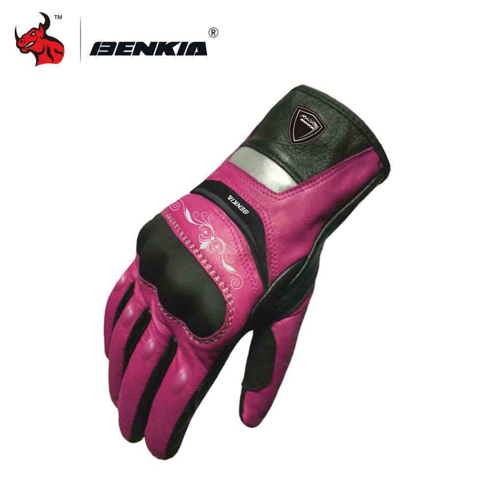 BENKIA Motorcycle Gloves Touch Screen Leather Racing Gloves Motocross Gloves Women`s Motorcycle Racing Gloves Black And Pink couple s capacitive screen touching hand warmer gloves deep pink black free size 2 pairs