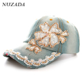 Brands NUZADA Denim Women Girls Ladies Baseball Cap Snapback Rhinestones Lace Cotton Hip Hop Hats Caps Bone szm-018