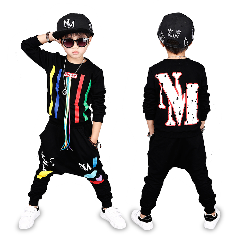 4 Bibihou new spring autumn kids clothes sets children 2 pcs Hip hop suit Shirt coat + Harem pants baby boys sport suits Color bar