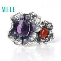 Природный аметист и красный агат кольца для женщин, 925 серебро Модные Винтажные большой Лепесток образный себе изделия, новый стиль