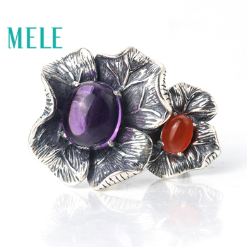 Natural amethyst and red agate rings for women,925 sterling silver fashion vintage big petal-shaped statement jewelry,New style