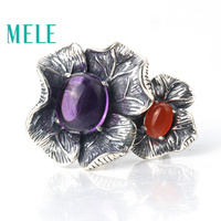 Natural amethyst and red agate rings for women,925 sterling silver fashion vintage big petal shaped statement jewelry,New style