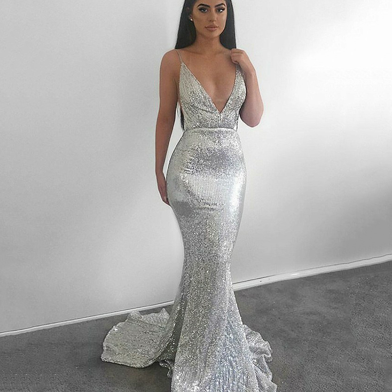 Trust LinDa Sexy Deep V-neck Mermaid   Bridesmaid     Dresses   Spaghetti Straps Backless Party Wear   Dress   Prom Gown 2018 Robe de Soiree