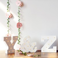 Wooden Luminous Alphabet Led Neon Plate Lighted Letters Sign Desk Light For Home Wall Decoration