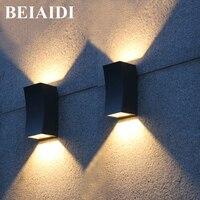 BEIAIDI Modern 10W Outdoor Led Wall Lamp Up Down Dual Head Garden Porch Wall Sconces Corridor Garden Hotel Pathway Porch Light
