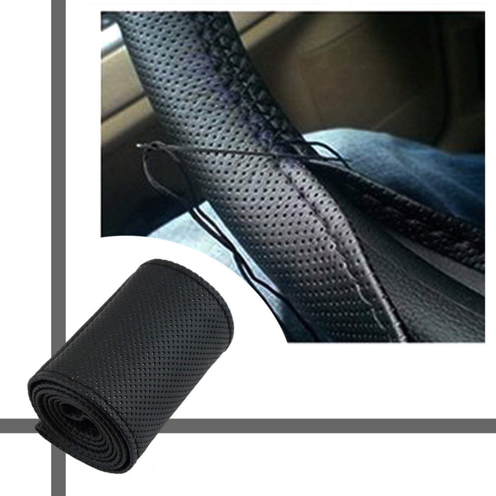 1 PC DIY Car Steering Wheel Cover With Needles and Thread Artificial leather Gray/ Black Fit for Diameter 38cm hot sale