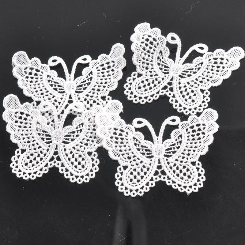 20 шт./лот аппликация бабочки из кружев сетки отделкой для одежды интимные аксессуары украшения пришить Гипюр кружево ткань CP0556