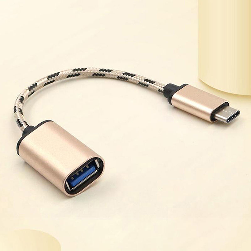 High Quality Braided Type-C USB 3.1 Male To USB 2.0 Female Adapter OTG Cable Cord Type C OTG Cable Adapter 16.5cm Gold