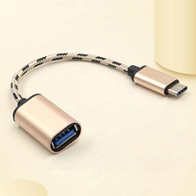 High Quality Braided Type-C USB 3.1 Male to USB 2.0 Female Adapter OTG Cable Cord Type C OTG Cable Adapter 16.5cm Gold freeshipping high quality usb can adapter usb to can bus adapter