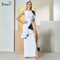 Dressv Asymmetrical Elegant Sleeveless Evening Dress Jewel Neck Ruffles Prom Dress Contrast Black White Custom Evening Dress