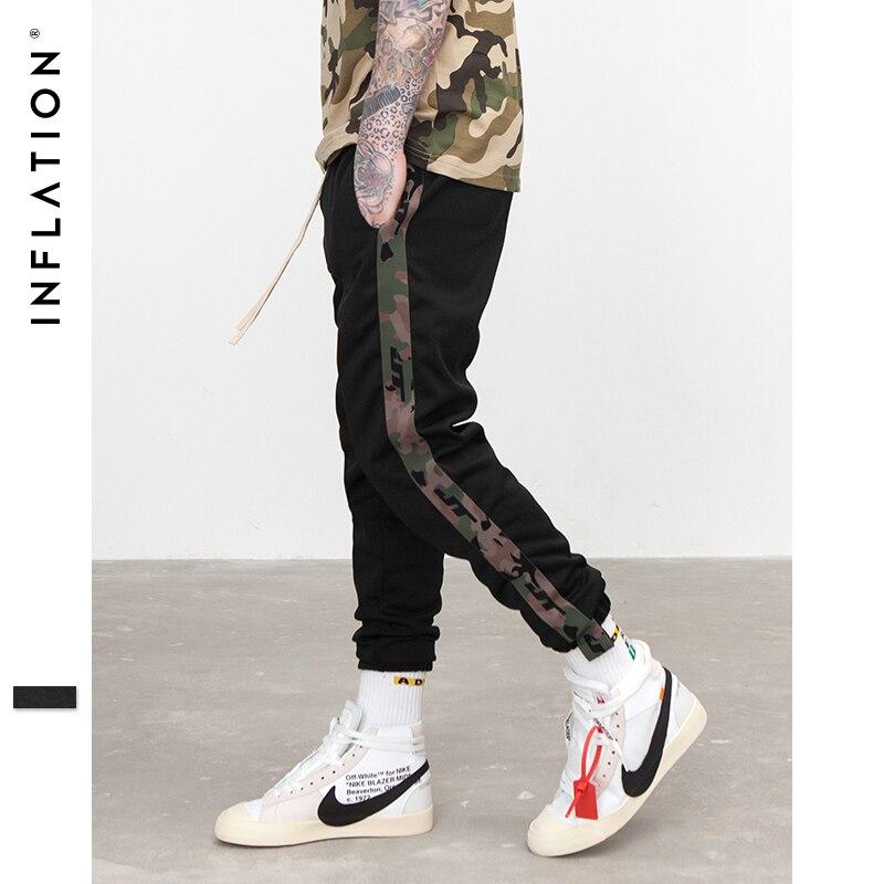 L'INFLATION Nouveau Automne Hommes Pantalon Élastique Taille Sport Pantalon Camouflage Côté Bande Highstreet Jogger 368W17