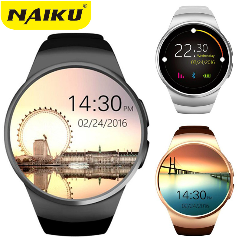 NAIKU Original KW18 Full Round IPS Heart Rate Smart Watch MTK2502 BT4.0 Smartwatch For Ios And Android Samsung Intelligent Watch