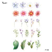 Wyuen Новый дизайн Красочные цветы Поддельные татуировки Водонепроницаемые временные свежие наклейки Тату для женщин Мужские туфли для тела Татуировки P-106