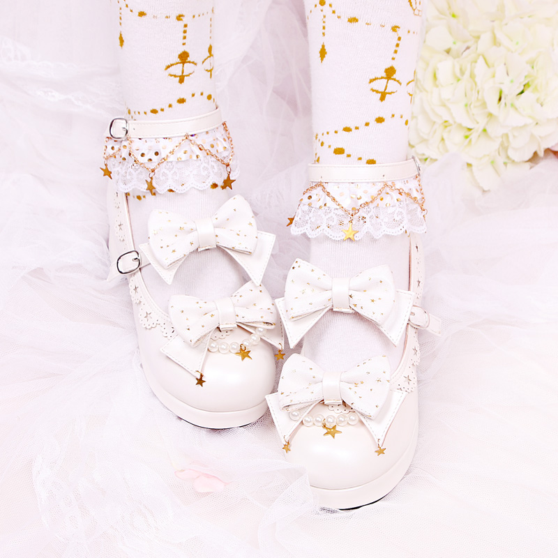 Gothic Style Lolita Princess Stars Mesh Bowknot Chunky Heels Shoes Women's Lace Round Head Cosplay Single Mid heel Shoes Daily