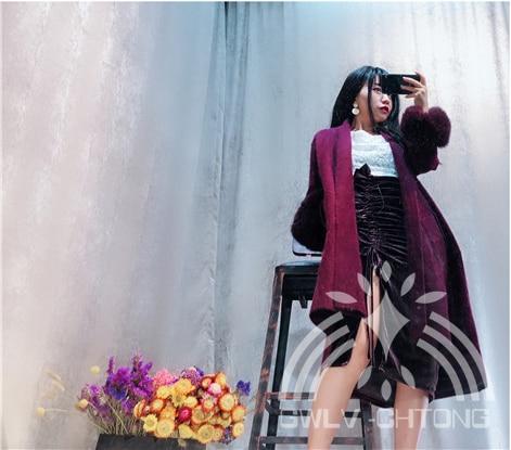 Cachemire Nouveau light Fourrure dark Noir Différents 4 Femmes Vison Cardigans Veste Mode Tricoté camel Fox Purple De Big Couleur Fille Avec Pull red Manteau Manches Purple En Dames YAYr4qgCxw