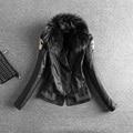 2016 nuevo invierno de piel de mapache verdadero con zapatillas de algodón caliente de LA PU cuero chaqueta corta femenina