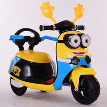New small yellow children's electric motorcycle three-wheeled battery car toy car with music colorful lighting throttle
