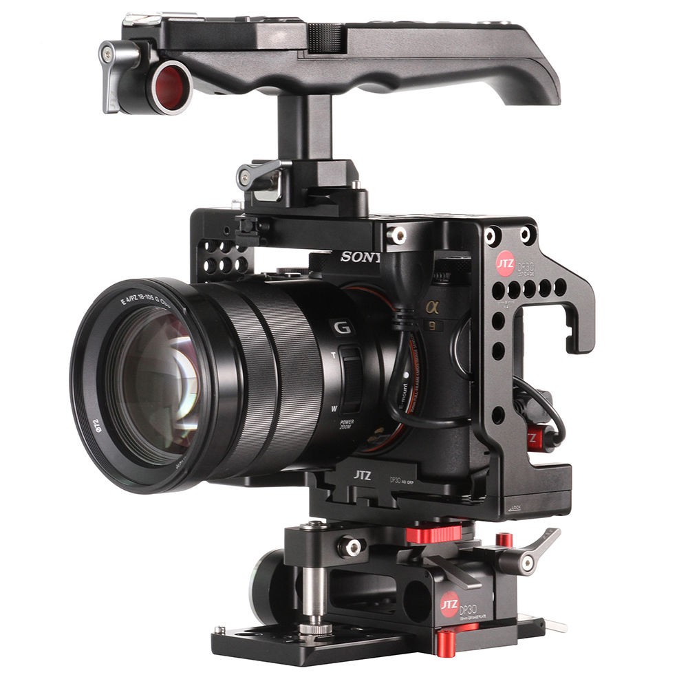 JTZ DP30 Camera Video Cage Baseplate Handle Rig For SONY A9 A7III A7RIII A7SIII jtz dp30 camera baseplate shoulder support rig 15mm rod kit for sony fs5 pxw fs5