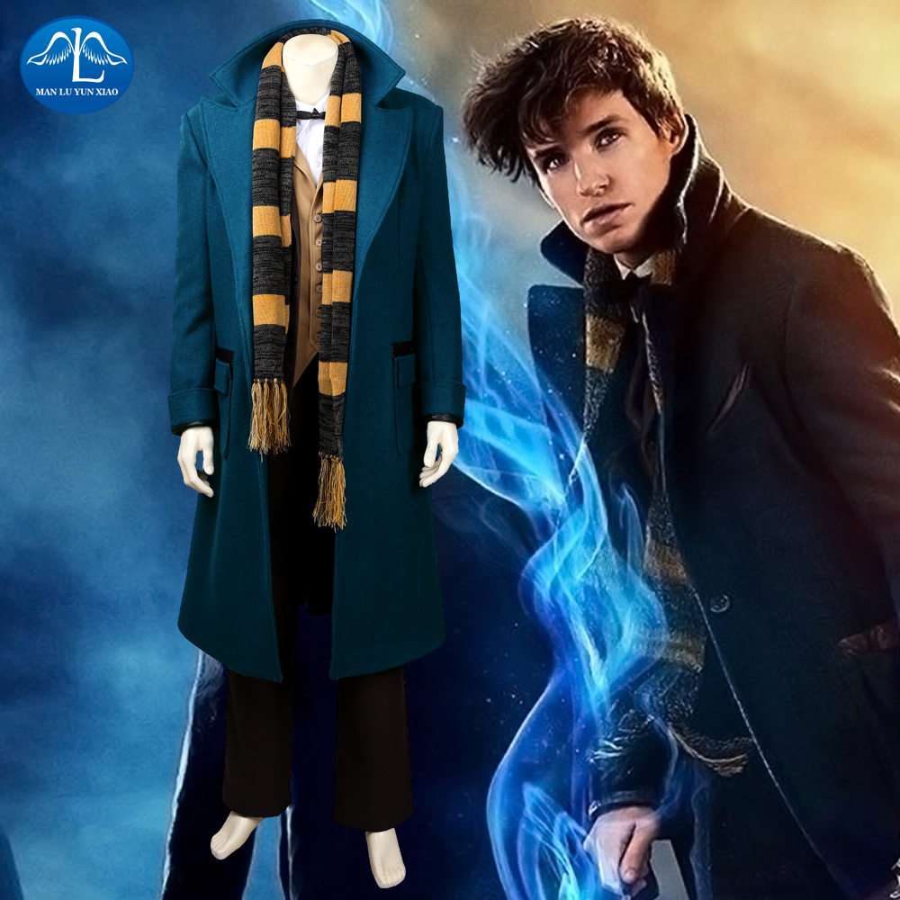 Movie Fantastic Beasts and Where to Find Them Newt Scamander Cosplay Costume Halloween Costumes For Men Full Set Custom Made