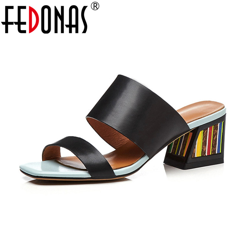 FEDONAS 2018 Summer Platform Genuine Leather Shoes Woman Fashion Casual Sandals Comfort Slippers White Black Female Sandals fedonas brand women summer gladiator low heeled sandals fashion comfort slippers genuine leather elegant shoes woman sandals