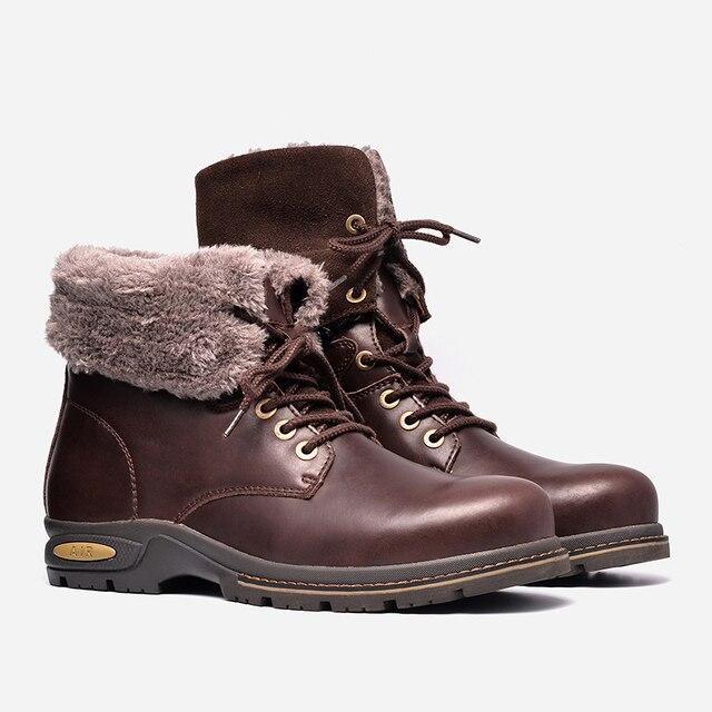 Genuine leather Men Winter Boots Size 38~47 Russian Style Handmade Warm Plus Size Men Winter Shoes
