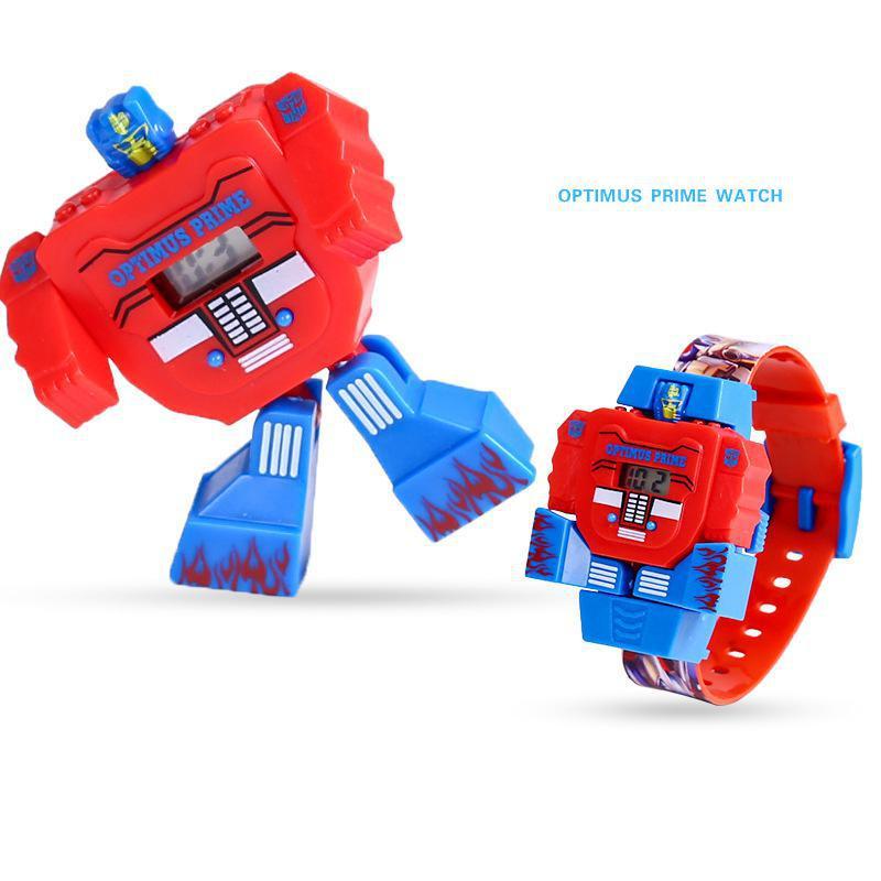 Cartoon Robot Watch Toys Waterproof Deformation Anime Kids Transformation Juguetes Captain Of America Spiderman Wristwatch