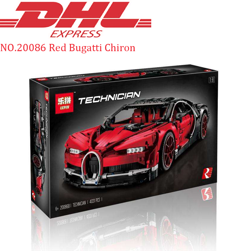 Lepin Technic Figure 20086 4031Pcs Red Chiron Racing Car Set Model Building Kit Blocks Bricks Toys For Children Compatible 42083
