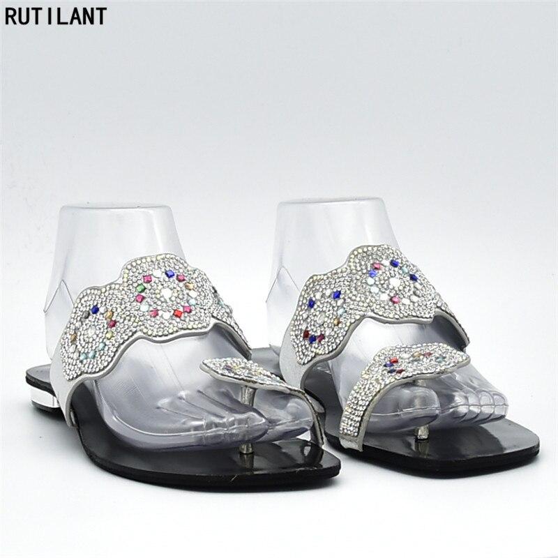 New Arrival Italian Women Wedding Shoes Decorated with Rhinestones Sandalias Rasteiras Femininas 2018 Slip on Shoes for Women