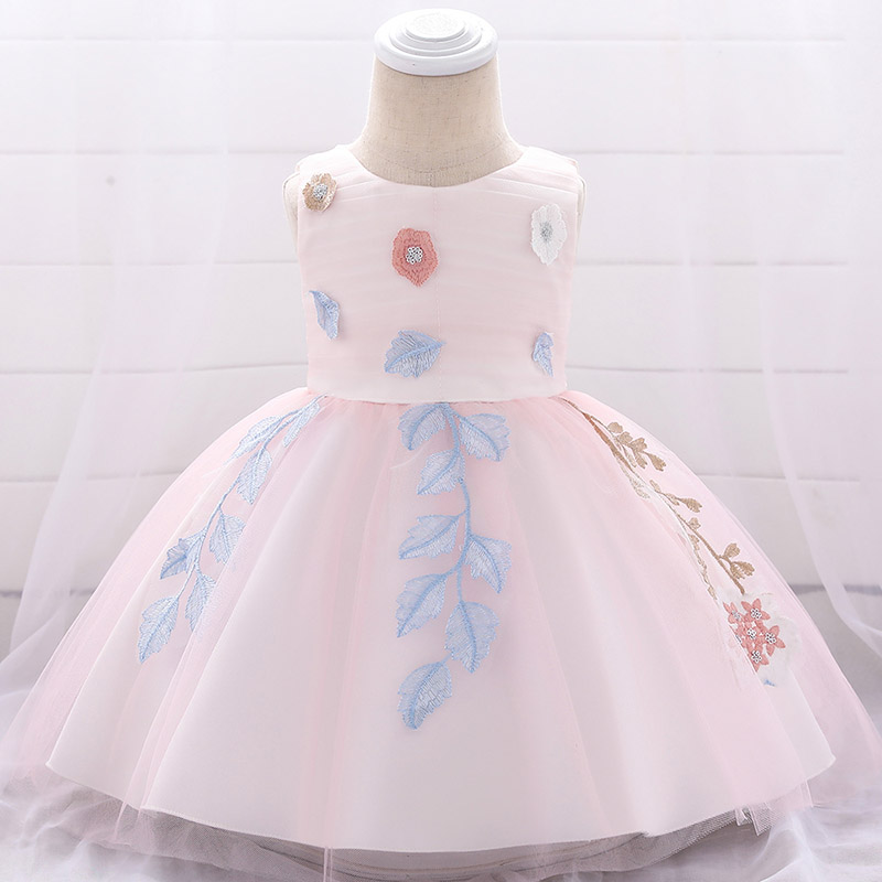 Flower   embroidery baby   dress   summer newborn kids ball gown for   girl   baby costume first communion   dresses   baptism fluffy vestido