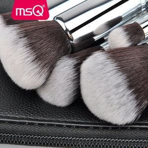 Image 5 - MSQ 15pcs Pro איפור מברשות סט קרן צלליות סומק ערכת מברשת באיכות גבוהה סינטטי שיער עם עור מפוצל מקרה