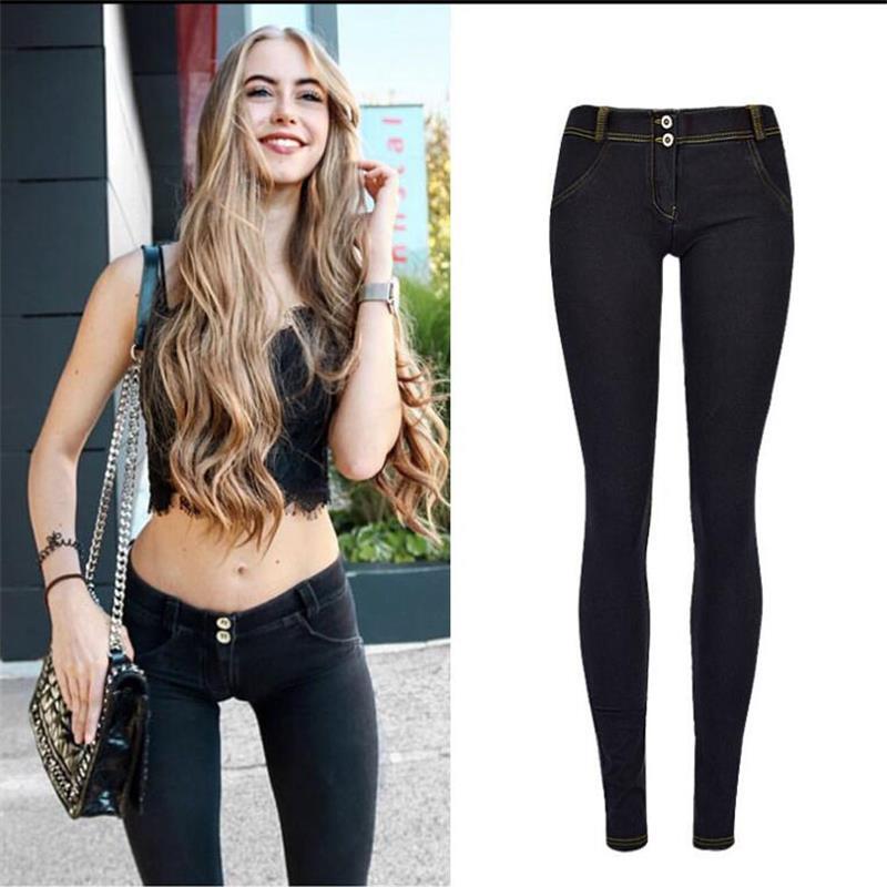 SupSindy Women Jeans Sexy Elastic Stretch Skinny Jeans Woman Hips Up Low Waist Jeans For Women Pencil Pants Denim Trousers Black