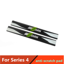 Anti-scratch pad For BMW 4 Series Rear Seat anti-kick plate anti-scratch  stainless steel Rubber ending cover trim 2pcs