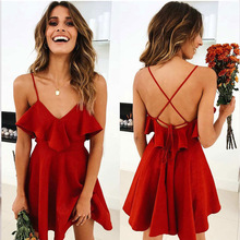 Women's Red Vintage Dress Backless V-neck Cross Drawstring Ruffled Strap Bundle Waist Mini Dress Summer цена 2017