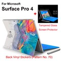 2017 New Design For Surface Pro 4 Tablet Vinyl Decal Netbook Music Brian Skin Sticker+Explosion-proof Tempered Glass