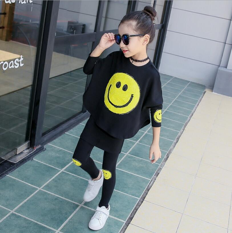 New Fashion Children Clothing Sets For Girls Autumn Sequins Smile-shaped Roupas Menina Batwing Sleeve Shirt And Culottes Suits