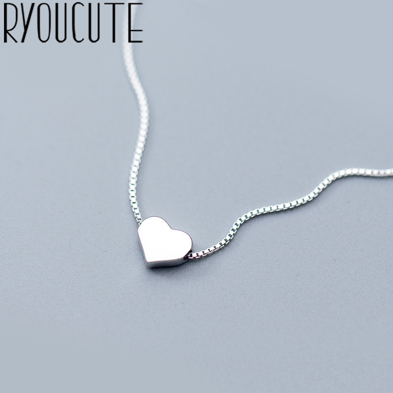 RYOUCUTE 100% Real Pure Silver Color Jewelry Vintage Korean Long LOVE Heart Necklaces For Women Wedding Kolye Collares(China)