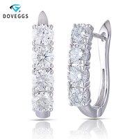 DovEggs 3.2CTW 4,5 мм Moissanite Huggie серьги U серьги в форме фигурного кольца Стерлинговое Серебро 925 платина серебряные серьги для женщин