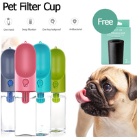 Outdoor Portable Pet Dog Travel Water Bottle 400ml Pet Filter Care Cup With Activated Carbon Purification System One Key Click