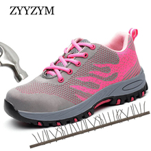 ZYYZYM Women Work Safety Shoes Steel Toe Sneakers Lace up Outdoor Boots